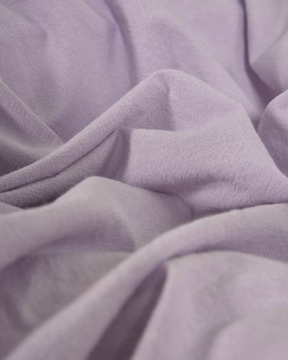 Dileta duvet cover, sheet & pillowcase set in lilac GOTS-certified cotton 145 x 190 cm