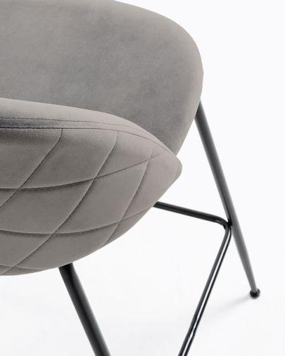 Taburete Ivonne terciopelo gris y acero con acabado negro altura 76 cm