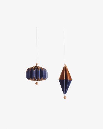 Artik set van 2 blauew en goudkleur kerstballen