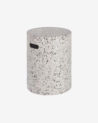 Table d'appoint Jenell en terrazzo blanc de Ø 35 cm