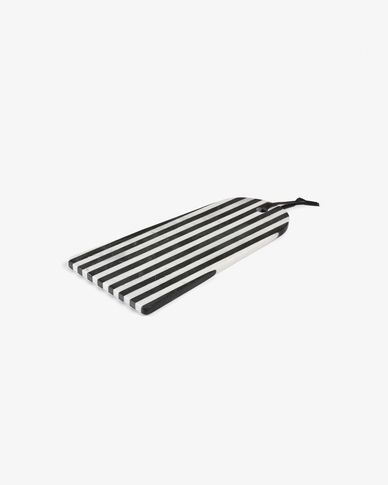 Taula de servir rectangular arc Bergman marbre blanc i negre