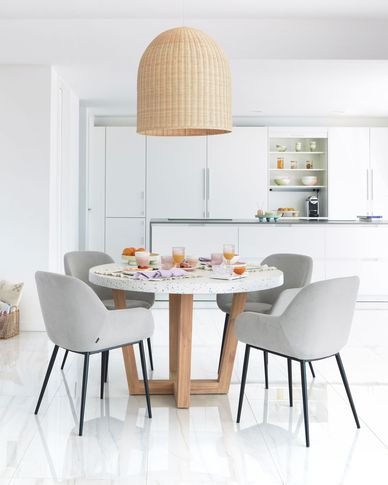 Shanelle round table for two in white terrazzo Ø 120 cm