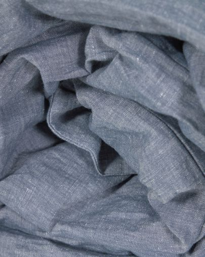 Eglant duvet cover, sheet & pillowcase set in blue GOTS cotton and linen 150 x 190 cm