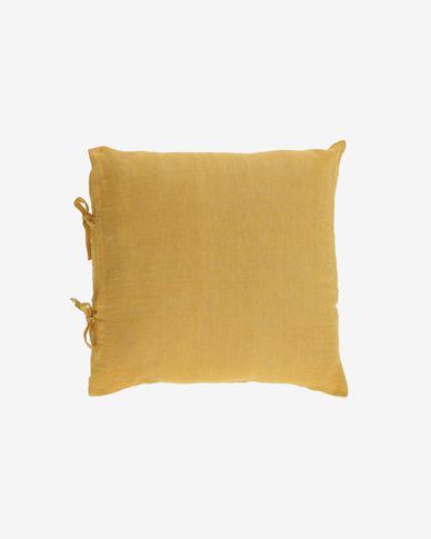 Tazu 100% linen cushion cover in mustard 45 x 45 cm