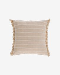 Sweeney 100% cotton cushion cover with beige and white stripes 45 x 45 cm