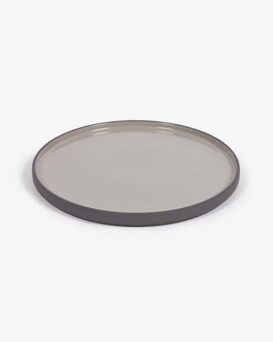 Assiette plate Thianela en porcelaine gris