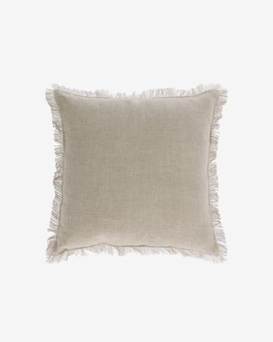Almira beige cotton and linen cushion cover with fringe 45 x 45 cm