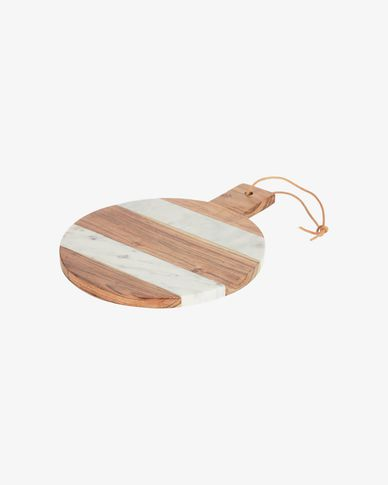 Taula de servir rodona Tresa fusta massissa acàcia i marbre blanc