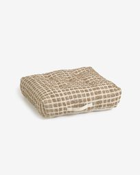 Jute and white natural cotton floor-pallet cushion Adelma 63 x 63 cm