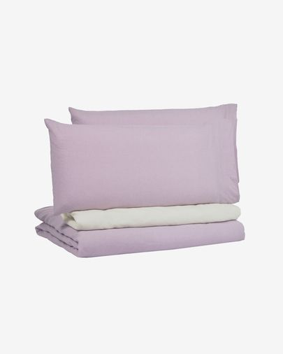 Dileta duvet cover, sheet & pillowcase set in lilac GOTS-certified cotton 180 x 200 cm