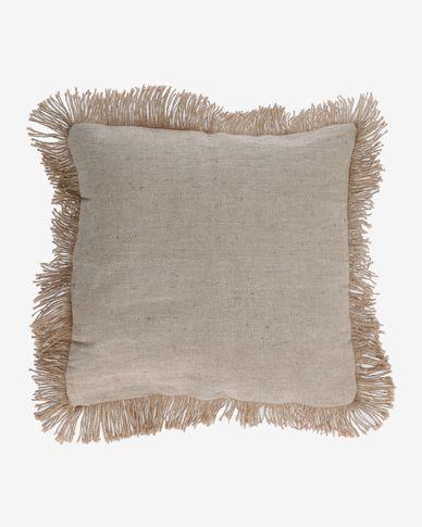 Funda de coixí Delcie beix amb serrells de jute de 60 x 60 cm