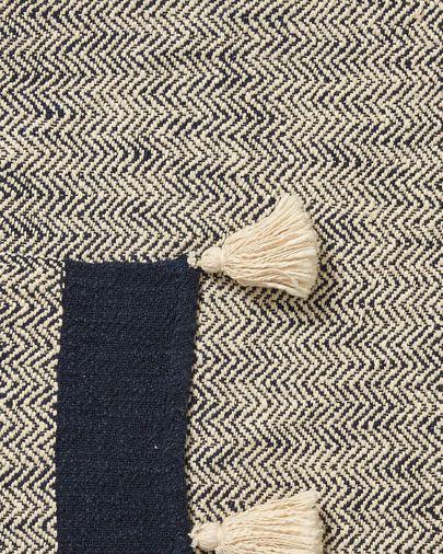 Manta Ginnie 100% algodón azul y beige 130 x 170 cm