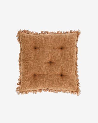 Brunela 100% katoen bruin stoelkussen 45 x 45 cm