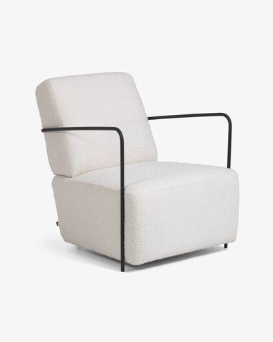 Gamer armchair white shearling effect