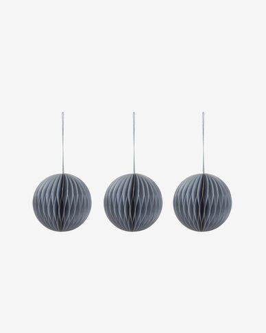 Decoratieve ballen Uriel set van 3 hangend in lichtblauw