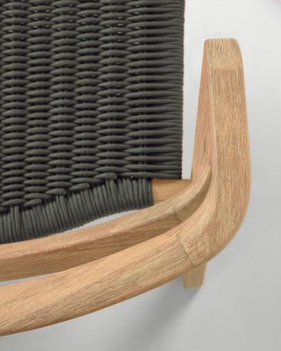 Sofa 2-osobowa Ezilda  z litego drewna eukaliptusowego i zielonej liny 122 cm FSC 100%