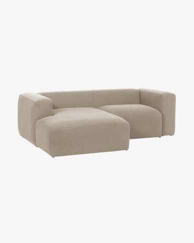 Beige Blok 2-seater sofa with left chaise longue 240 cm