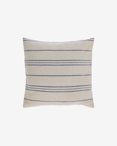Housse de coussin Ziza 100% coton fines rayures bleu et blanc 45 x 45 cm
