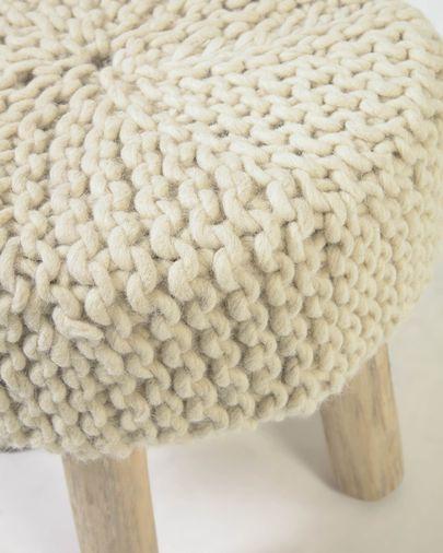 Reposapiés Beneda 100% lana blanco Ø 40 cm
