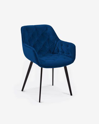 Chaise Mulder velours bleu