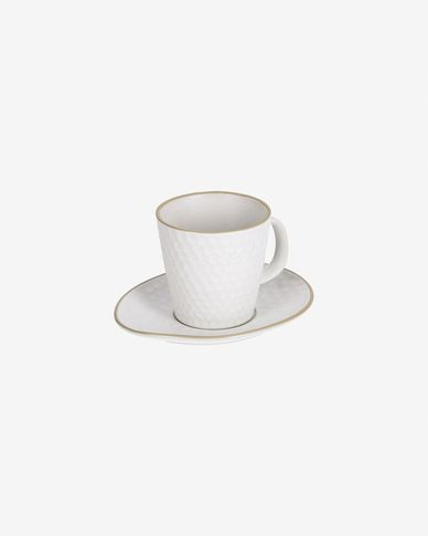 Manami ceramic cup and saucer in white