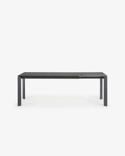 Axis uitschuifbare tafel 160 (220) cm grijs glas grafiet benen