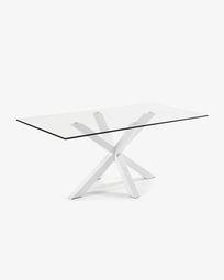 Argo tafel 200 cm glas wit benen
