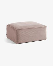 Blok footstool in pink corduroy, 90 x 70 cm