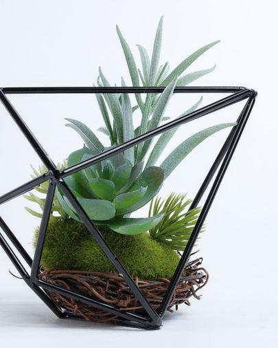 Mix piante Suculenta artificiali in struttura in metallo