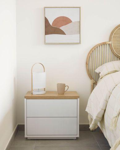 Table de chevet Abilen en contreplaqué de chêne laqué blanc 53,4 x 44 cm