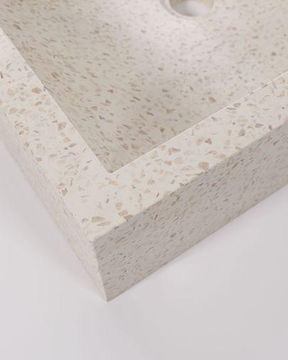 Lavabo encimera Kuveni de terrazo blanco 40 x 45 cm