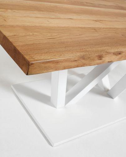 Mesa Nyc 220x100, epoxy branco, parte superior em carvalho