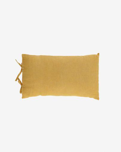 Housse de coussin Tazu 100% lin moutarde 30 x 50 cm