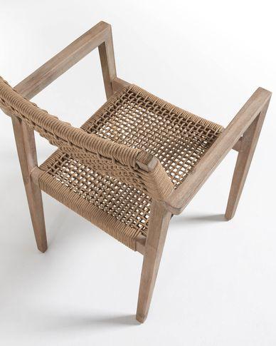 Silla Vetter madera maciza de eucalipto y cuerda beige FSC 100%