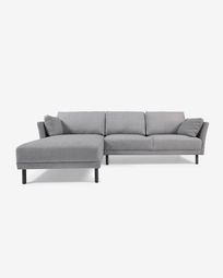 Gilma grey 3-seater sofa with left-hand chaise longue with legs in dark finish 260 cm
