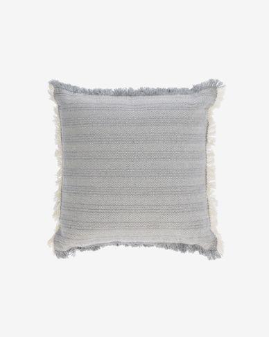 Funda coixí Devi 100% cotó serrells beix i blau 45 x 45 cm