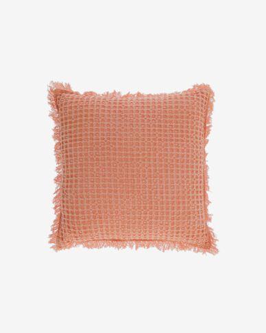 Funda de cojín Shallow 100% algodón naranja de 45 x 45 cm