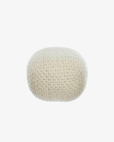 Betty round 100% wool pouffe in white Ø 50 cm