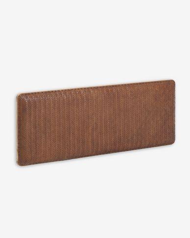 Capçal Natesa fusta massissa teca i cuir 163 x 60 cm