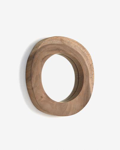 Espejo Keni de madera maciza de teca Ø 28 cm