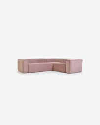 Blok 3-seater corner sofa in pink corduroy, 290 x 230 cm