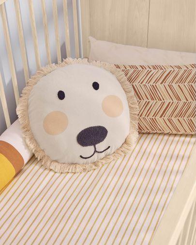 Uriana 100% cotton lion cushion cover in beige Ø 45 cm