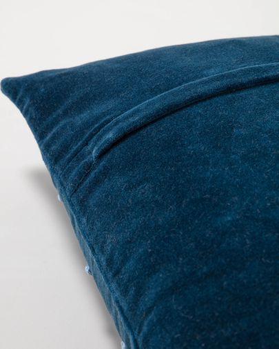 Housse de coussin Aines 45 x 45 cm velours bleu