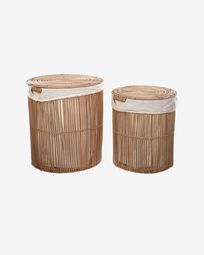 Diadorin set of 2 laundry baskets in 100% rattan with natural finish