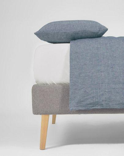 Eglant duvet cover, sheet & pillowcase set in blue GOTS cotton and linen 145 x 190 cm