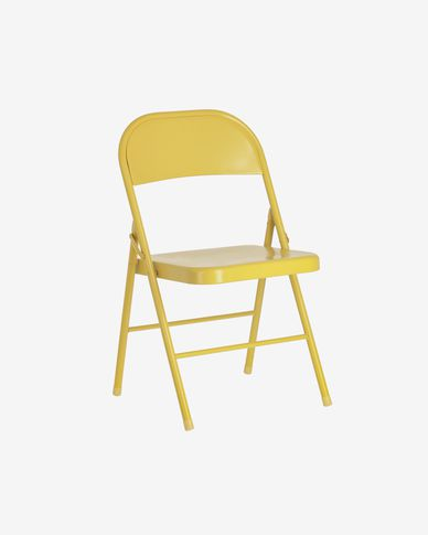 Chaise pliante Aidana en métal moutarde