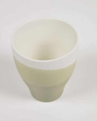 Sayuri large porcelain cup in green and white