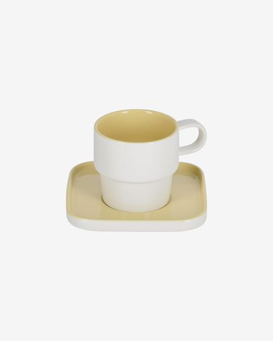 Midori ceramic cup and saucer in yellow