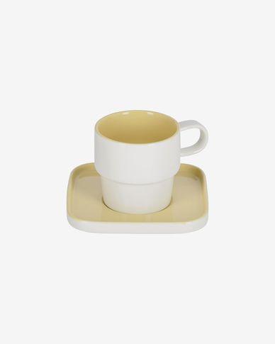 Tazzina con piattino Midori in ceramica gialla