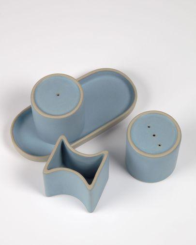 Blauw keramisch peper-en-zoutstel Midori